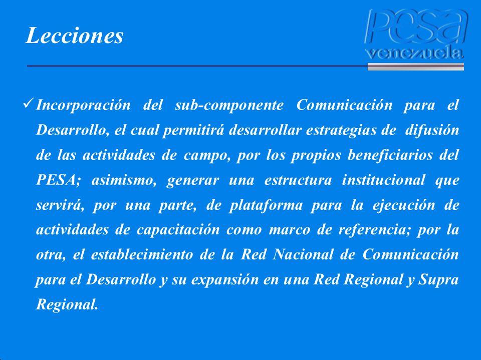 Lecciones Incorporación del sub-componente Comunicación para el Desarrollo, el cual permitirá desarrollar estrategias de difusión de las actividades d