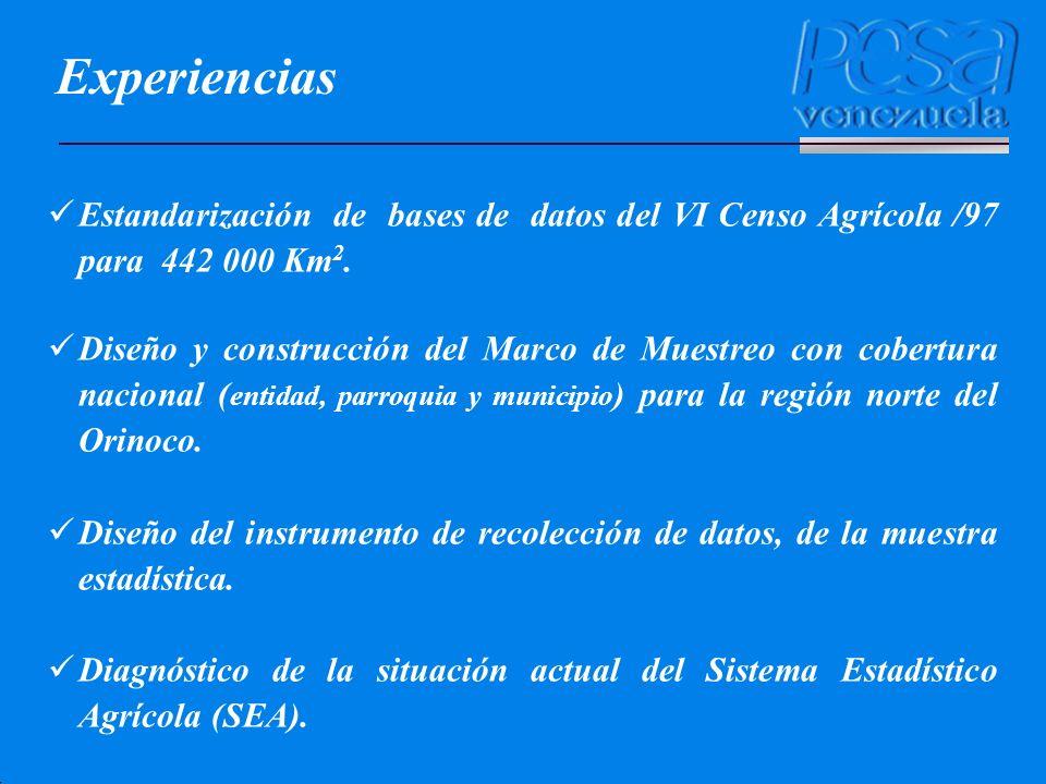 Estandarización de bases de datos del VI Censo Agrícola /97 para 442 000 Km 2. Diseño y construcción del Marco de Muestreo con cobertura nacional ( en