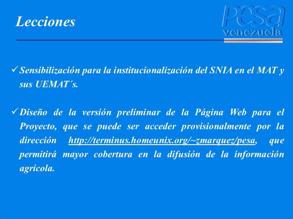 Sensibilización para la institucionalización del SNIA en el MAT y sus UEMAT´s. Diseño de la versión preliminar de la Página Web para el Proyecto, que