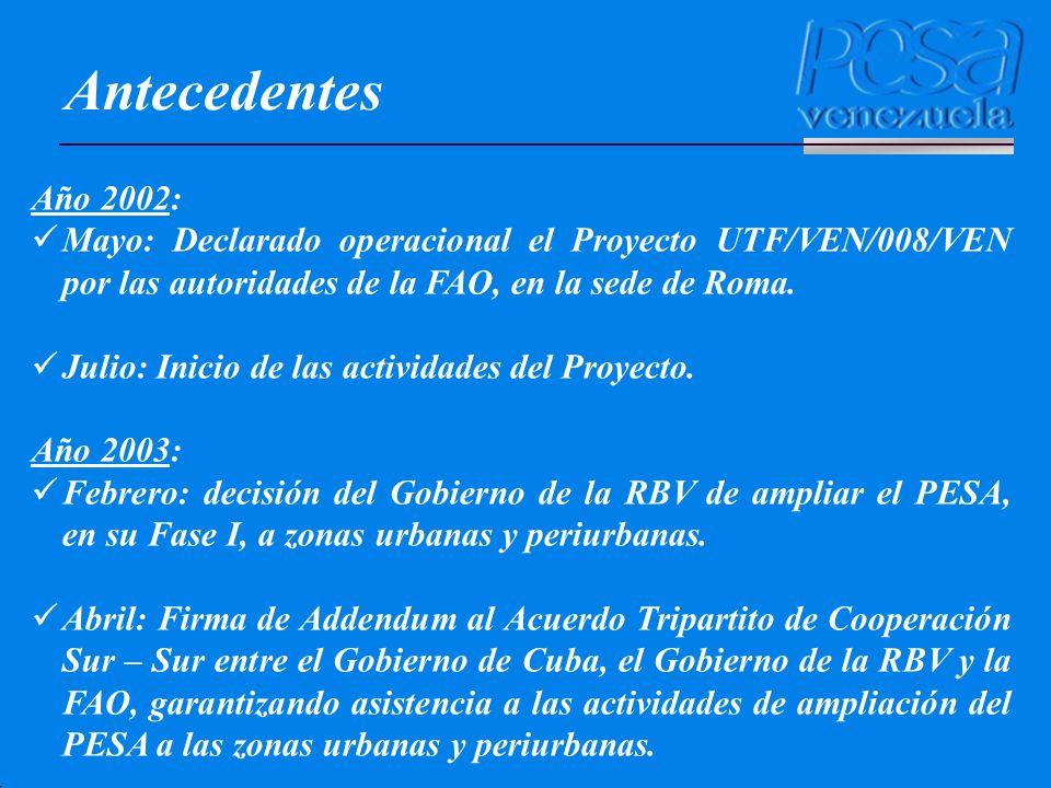 Antecedentes Año 2002: Mayo: Declarado operacional el Proyecto UTF/VEN/008/VEN por las autoridades de la FAO, en la sede de Roma. Julio: Inicio de las