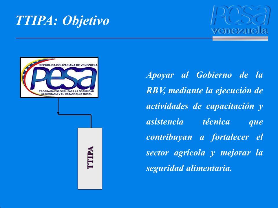 TTIPA Apoyar al Gobierno de la RBV, mediante la ejecución de actividades de capacitación y asistencia técnica que contribuyan a fortalecer el sector a