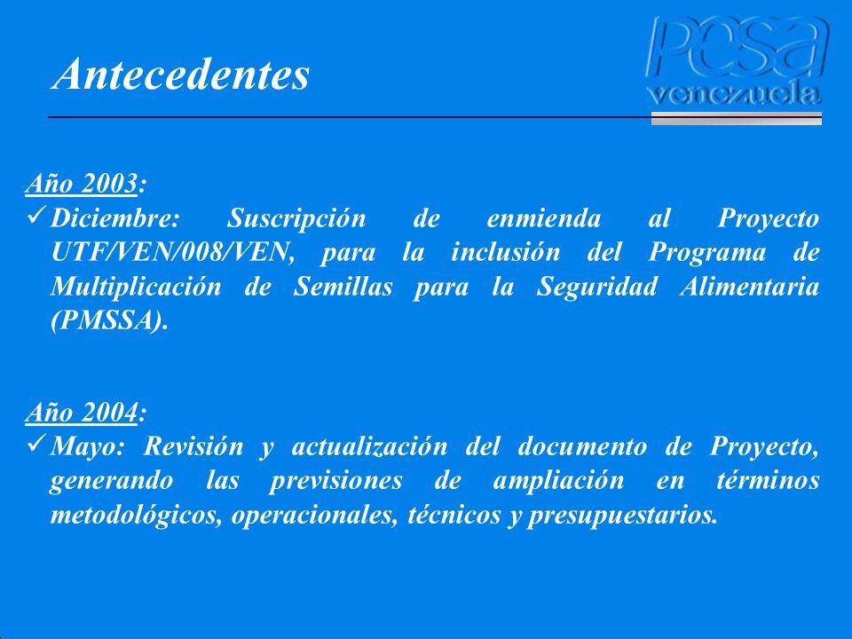 Antecedentes Año 2003: Diciembre: Suscripción de enmienda al Proyecto UTF/VEN/008/VEN, para la inclusión del Programa de Multiplicación de Semillas pa