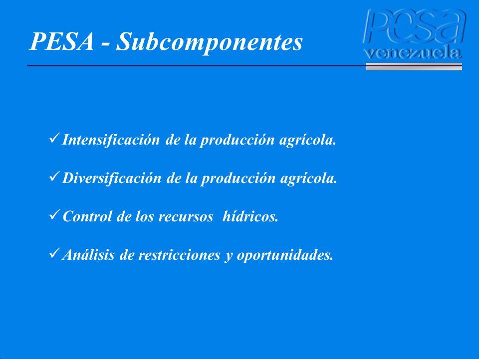 PESA - Subcomponentes Intensificación de la producción agrícola. Diversificación de la producción agrícola. Control de los recursos hídricos. Análisis