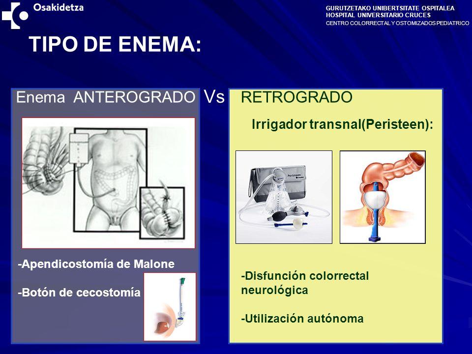 CENTRO COLORRECTAL Y OSTOMIZADOS PEDIATRICO GURUTZETAKO UNIBERTSITATE OSPITALEA HOSPITAL UNIVERSITARIO CRUCES TIPO DE ENEMA: Vs Enema ANTEROGRADORETROGRADO -Apendicostomía de Malone -Botón de cecostomía -Disfunción colorrectal neurológica -Utilización autónoma Irrigador transnal(Peristeen):