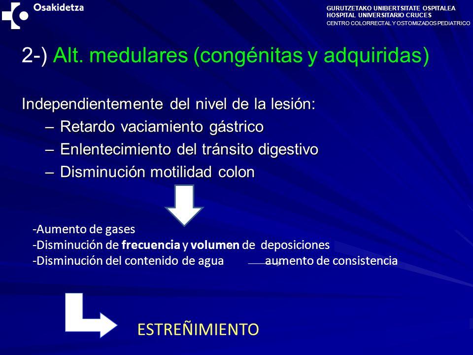 CENTRO COLORRECTAL Y OSTOMIZADOS PEDIATRICO GURUTZETAKO UNIBERTSITATE OSPITALEA HOSPITAL UNIVERSITARIO CRUCES ESTREÑIMIENTO Dilatación Recto- Sigmoidea -Disminución de frecuencia y volumen de deposiciones -Disminución del contenido de agua aumento de consistencia -Tenesmo HIPOPERISTALSIS Umbral de defecación Incontinencia Urinaria