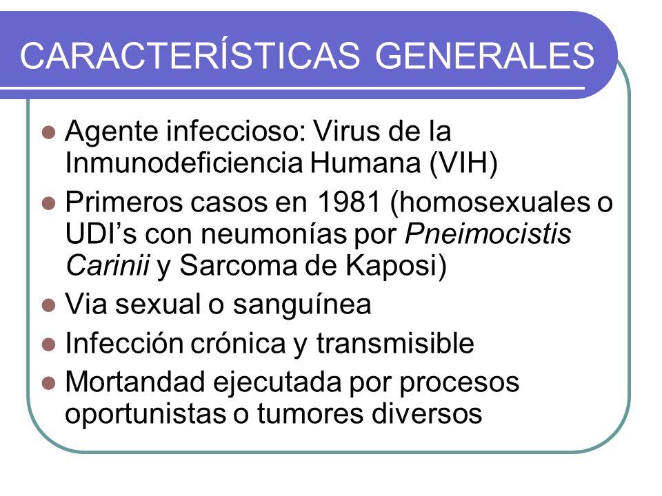 Agente infeccioso: Virus de la Inmunodeficiencia Humana (VIH) Primeros casos en 1981 (homosexuales o UDIs con neumonías por Pneimocistis Carinii y Sar