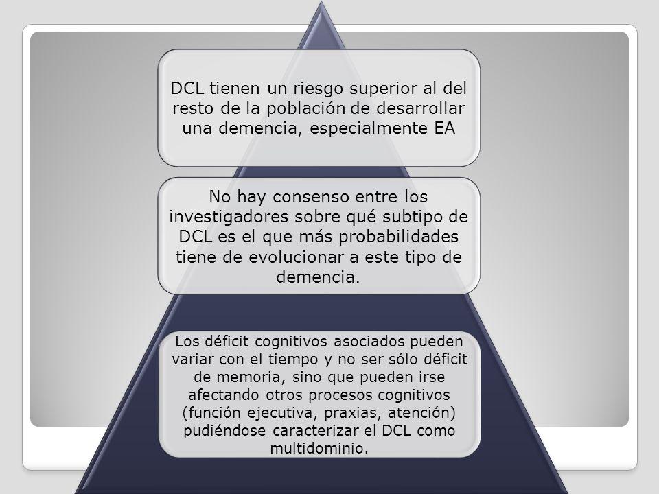 DCL tienen un riesgo superior al del resto de la población de desarrollar una demencia, especialmente EA No hay consenso entre los investigadores sobr