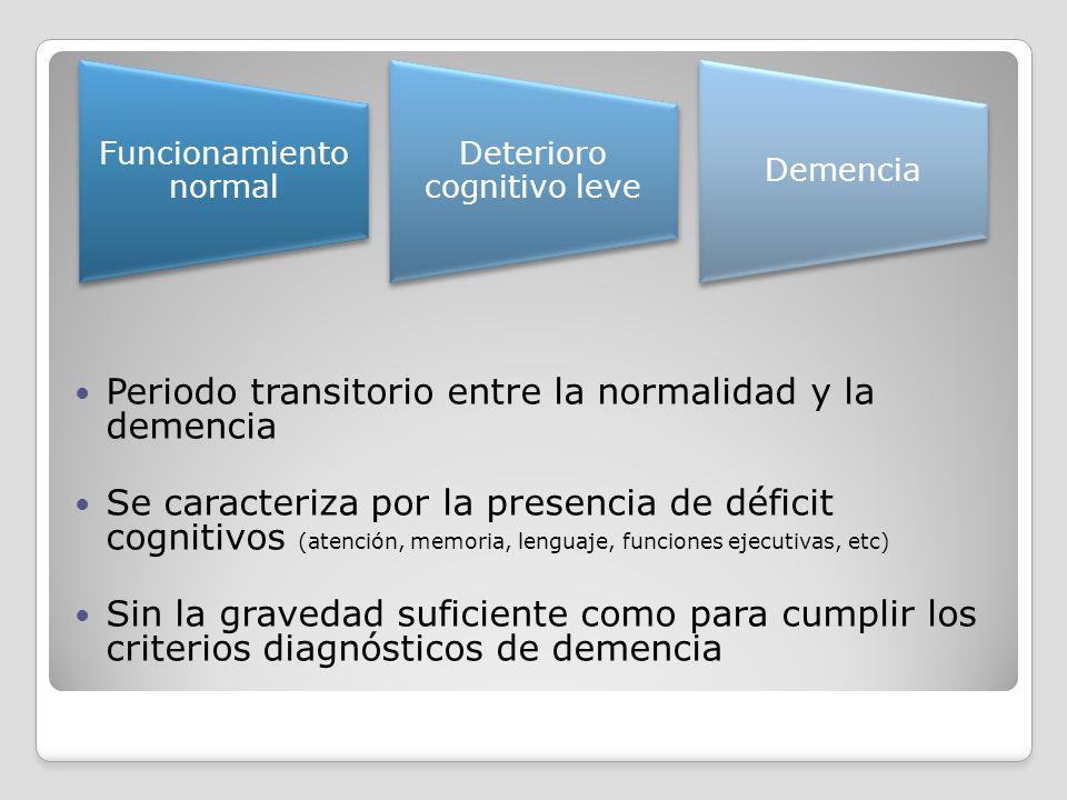 Periodo transitorio entre la normalidad y la demencia Se caracteriza por la presencia de déficit cognitivos (atención, memoria, lenguaje, funciones ej