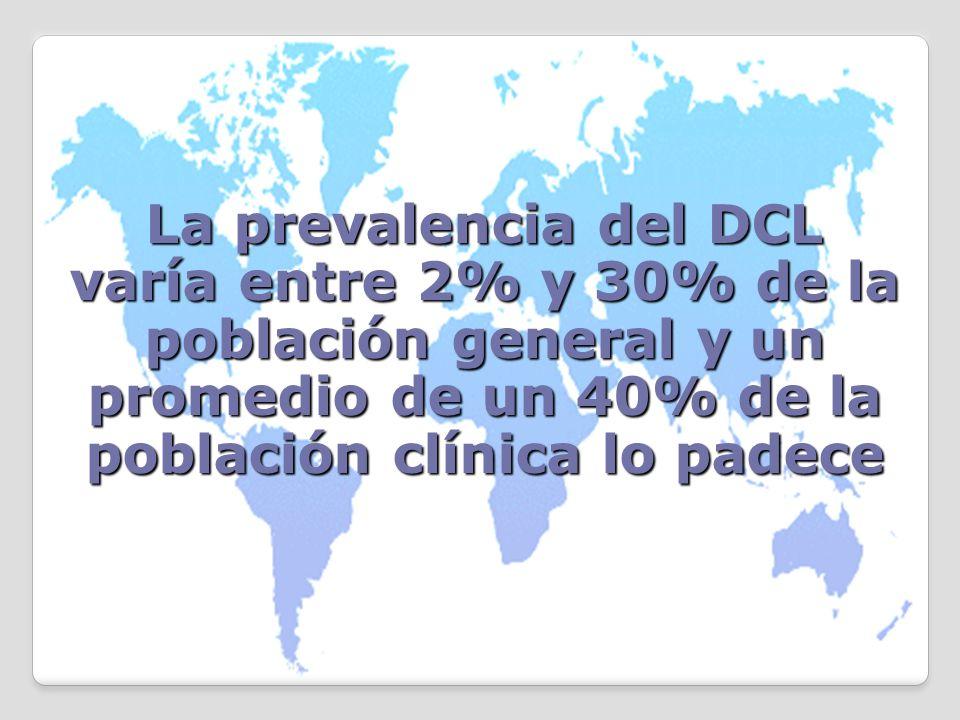La prevalencia del DCL varía entre 2% y 30% de la población general y un promedio de un 40% de la población clínica lo padece