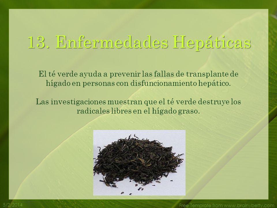 5/2/2014 Free Template from www.brainybetty.com 12. Mal de Parkinson Los antioxidantes en el té verde ayudan a prevenir el daño celular en el cerebro,