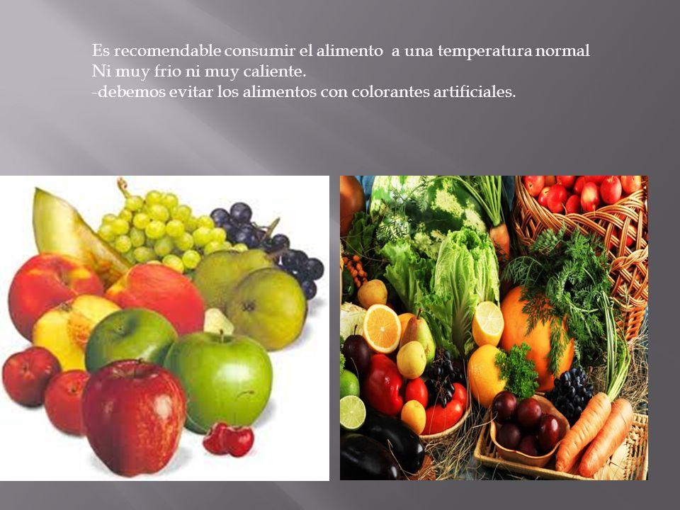 Es recomendable consumir el alimento a una temperatura normal Ni muy frio ni muy caliente. -debemos evitar los alimentos con colorantes artificiales.