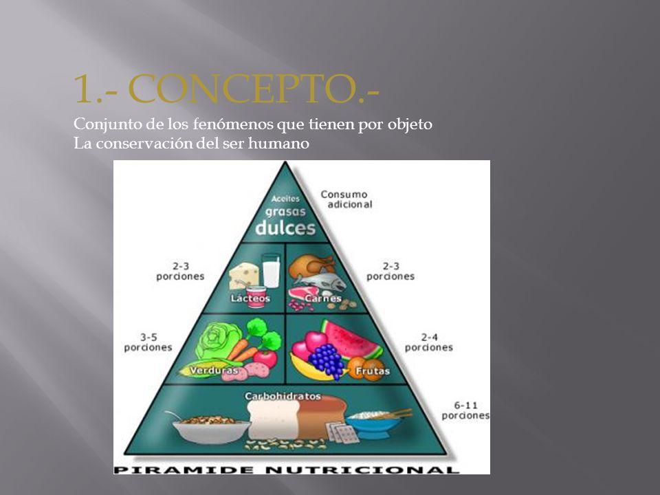 1.- CONCEPTO.- Conjunto de los fenómenos que tienen por objeto La conservación del ser humano