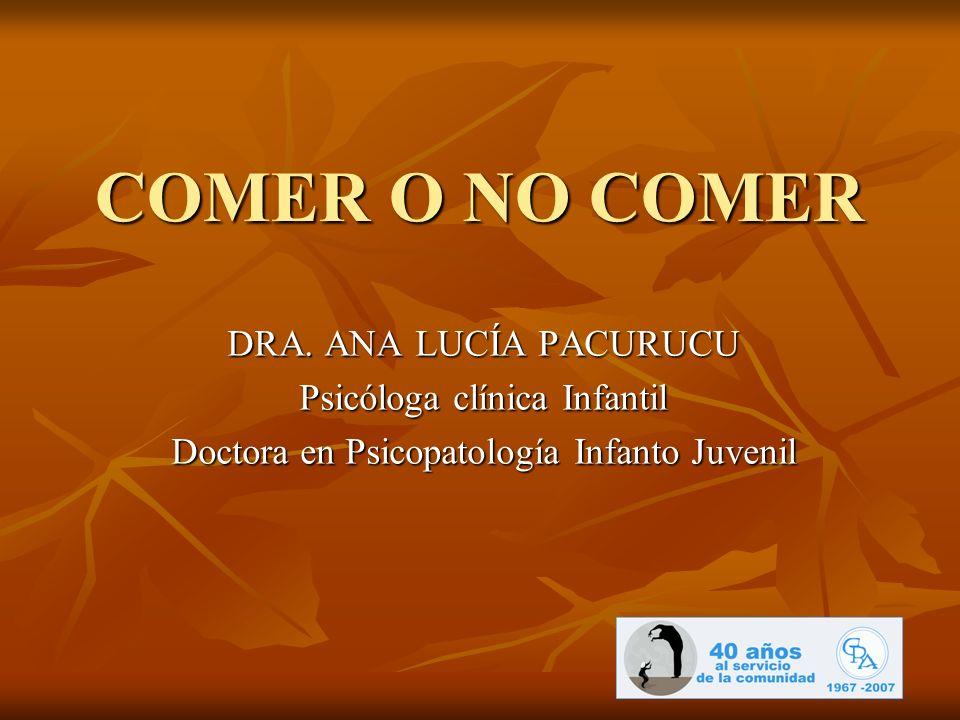 COMER O NO COMER DRA. ANA LUCÍA PACURUCU Psicóloga clínica Infantil Doctora en Psicopatología Infanto Juvenil