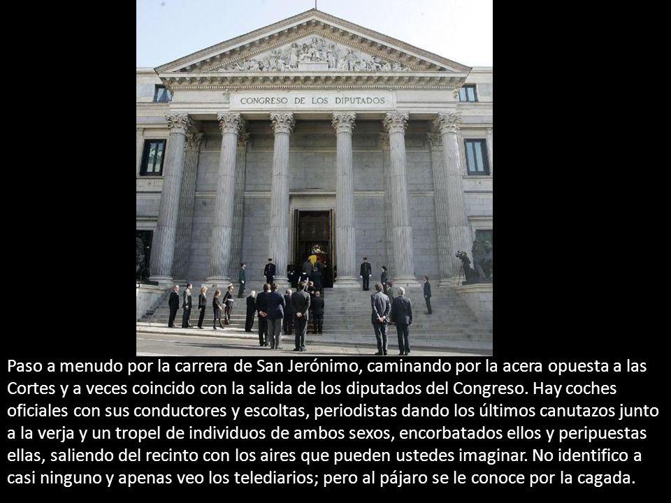 Paso a menudo por la carrera de San Jerónimo, caminando por la acera opuesta a las Cortes y a veces coincido con la salida de los diputados del Congreso.