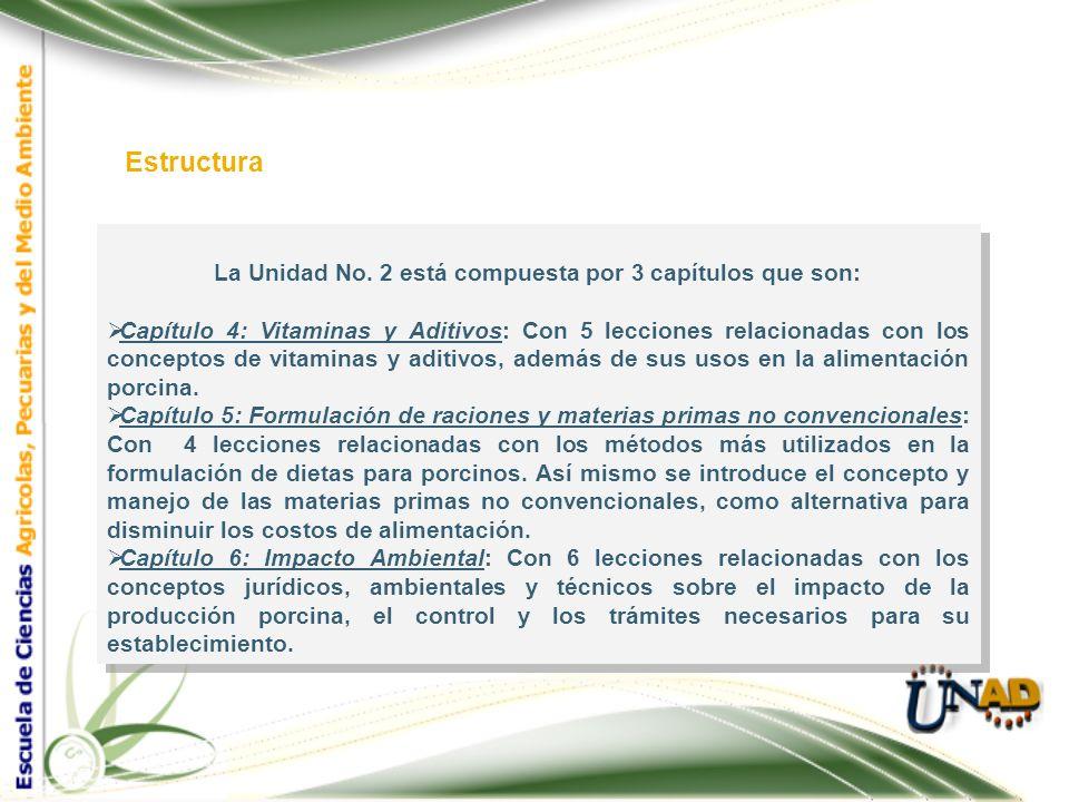 La Unidad No. 2 está compuesta por 3 capítulos que son: Capítulo 4: Vitaminas y Aditivos: Con 5 lecciones relacionadas con los conceptos de vitaminas