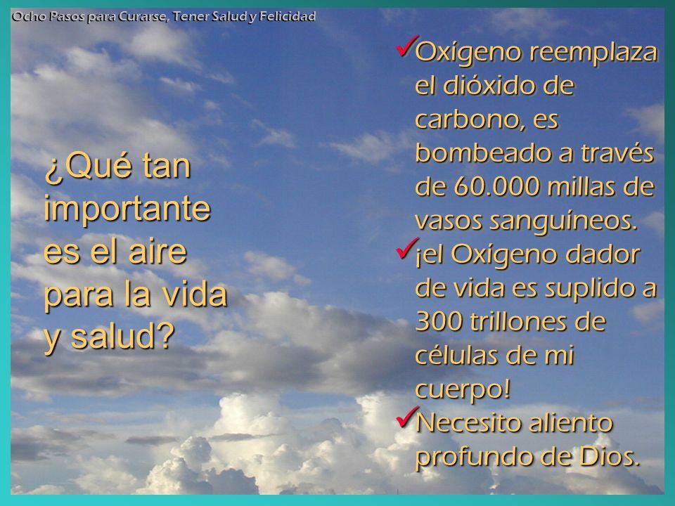 ¿Qué tan importante es el aire para la vida y salud? Oxígeno reemplaza el dióxido de carbono, es bombeado a través de 60.000 millas de vasos sanguíneo