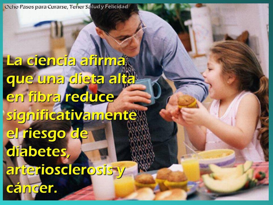 La ciencia afirma que una dieta alta en fibra reduce significativamente el riesgo de diabetes, arteriosclerosis y cáncer. Ocho Pasos para Curarse, Ten