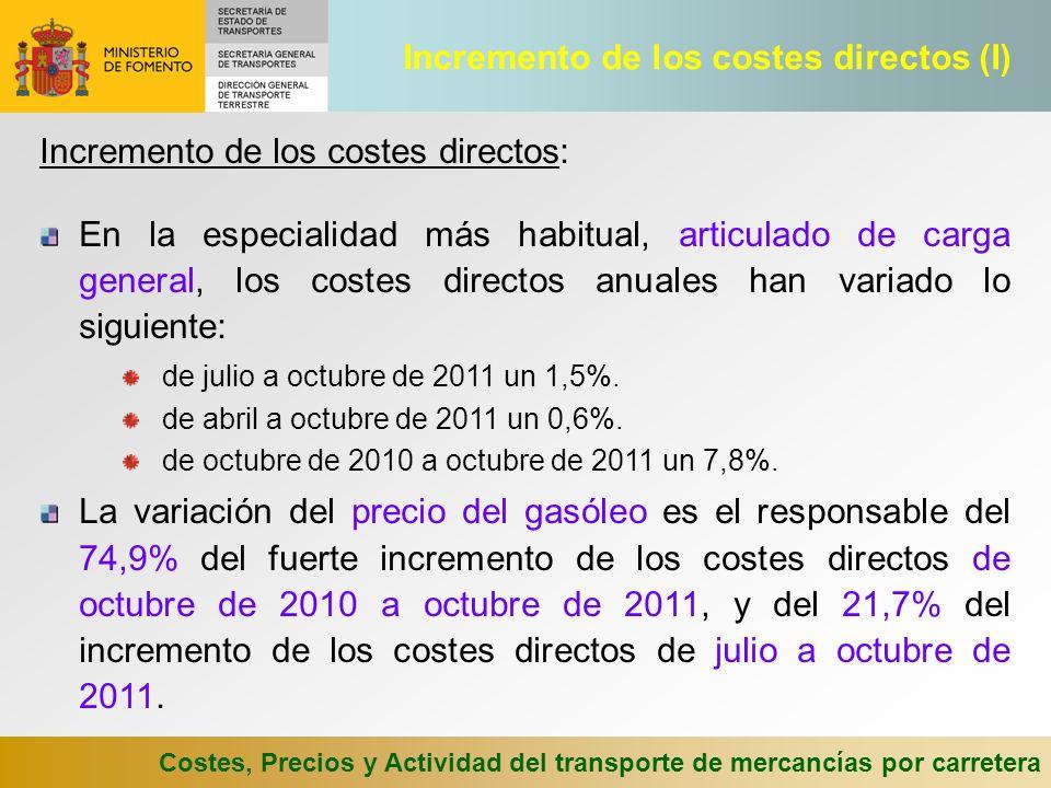 Costes, Precios y Actividad del transporte de mercancías por carretera La variación del coste de personal y dietas es el responsable del 15,8% del fuerte incremento de los costes directos de octubre de 2010 a octubre de 2011, y del 74,7% del incremento de los costes directos de julio a octubre de 2011.