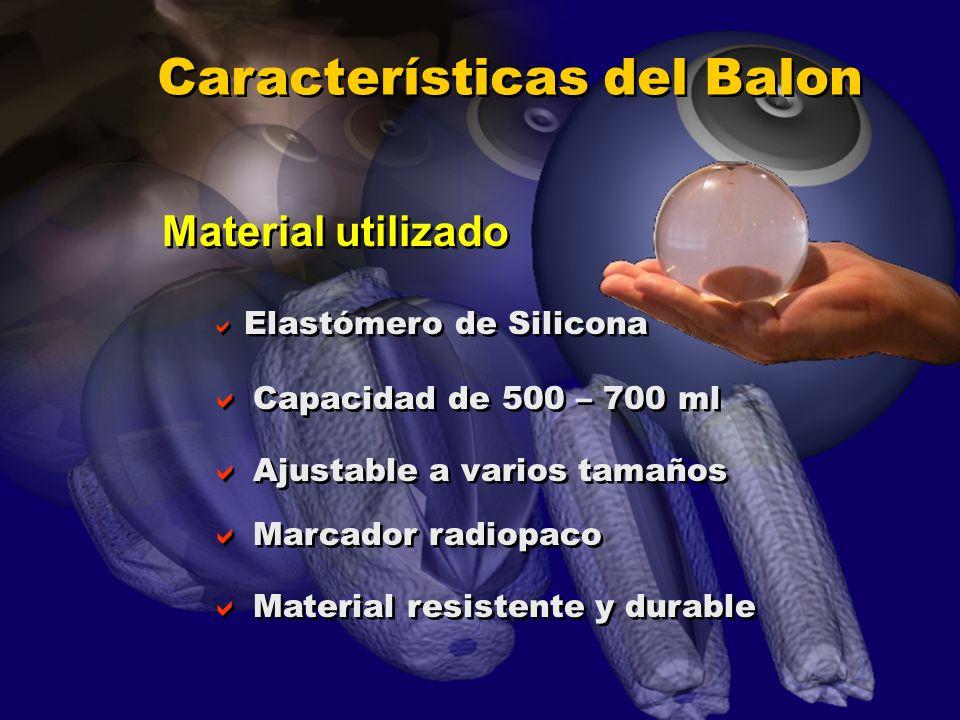 Características del Balon Elastómero de Silicona Capacidad de 500 – 700 ml Ajustable a varios tamaños Marcador radiopaco Material resistente y durable