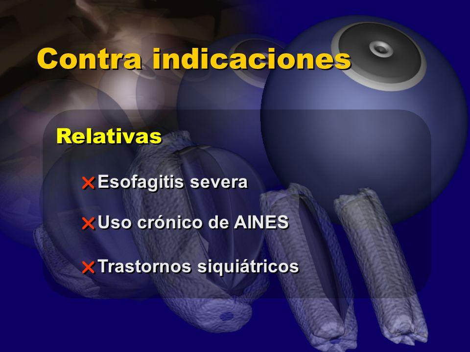 Contra indicaciones Relativas Esofagitis severa Uso crónico de AINES Trastornos siquiátricos Esofagitis severa Uso crónico de AINES Trastornos siquiát