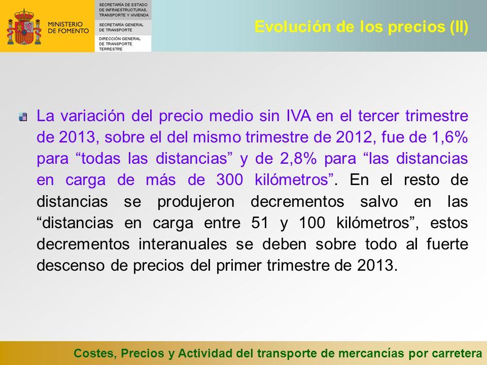 Costes, Precios y Actividad del transporte de mercancías por carretera La variación del precio medio sin IVA en el tercer trimestre de 2013, sobre el del mismo trimestre de 2012, fue de 1,6% para todas las distancias y de 2,8% para las distancias en carga de más de 300 kilómetros.