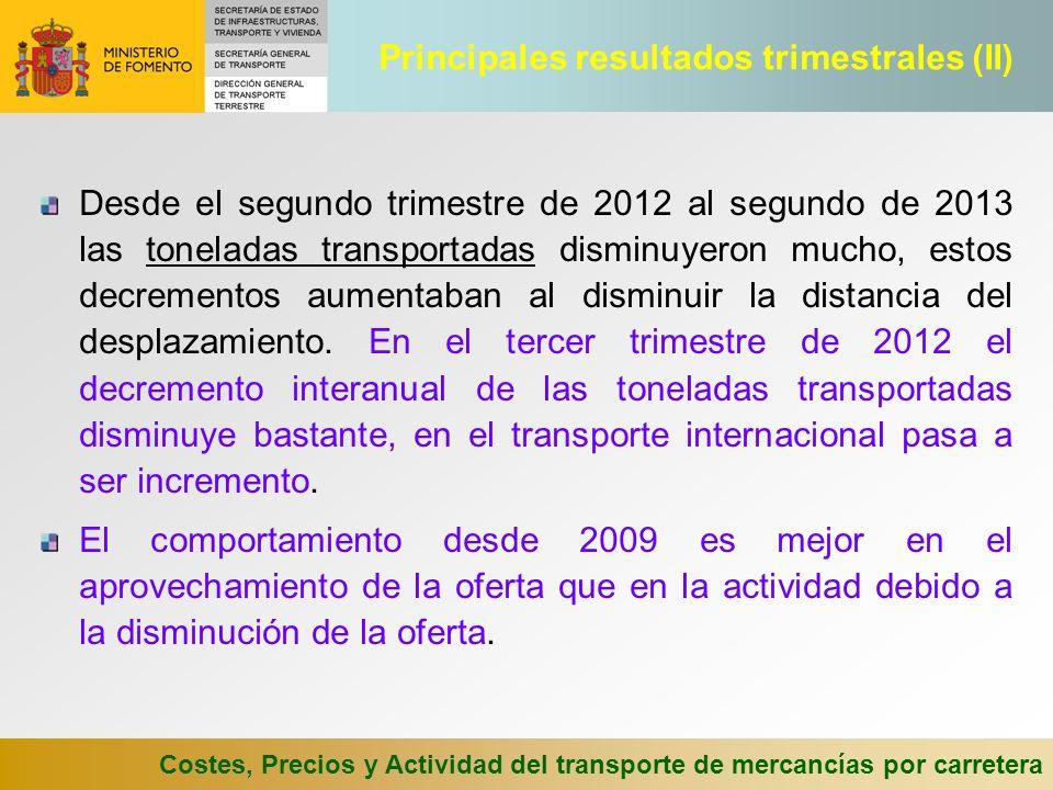 Costes, Precios y Actividad del transporte de mercancías por carretera Desde el segundo trimestre de 2012 al segundo de 2013 las toneladas transportad