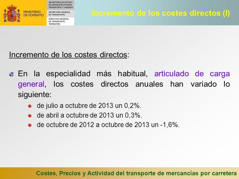 Costes, Precios y Actividad del transporte de mercancías por carretera Incremento de los costes directos: En la especialidad más habitual, articulado de carga general, los costes directos anuales han variado lo siguiente: de julio a octubre de 2013 un 0,2%.