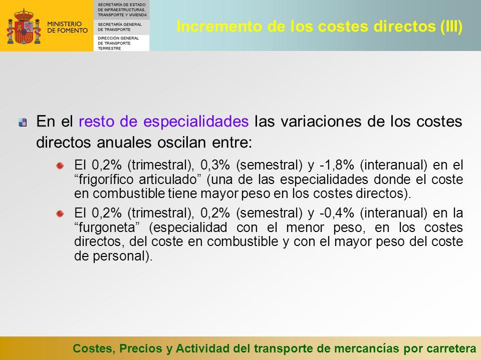 Costes, Precios y Actividad del transporte de mercancías por carretera En el resto de especialidades las variaciones de los costes directos anuales oscilan entre: El 0,2% (trimestral), 0,3% (semestral) y -1,8% (interanual) en el frigorífico articulado (una de las especialidades donde el coste en combustible tiene mayor peso en los costes directos).