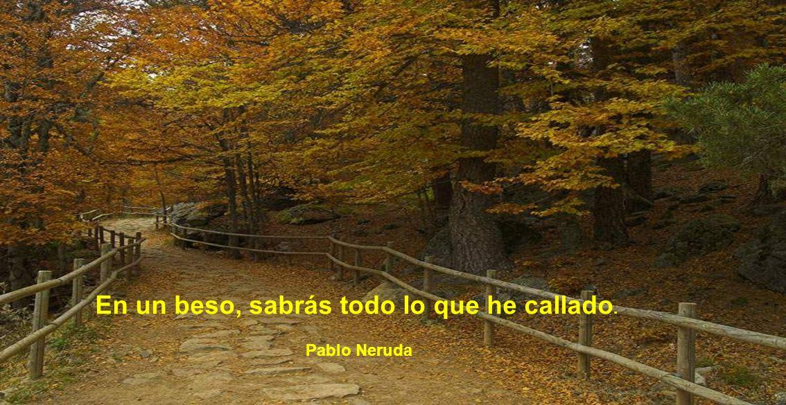 En un beso, sabrás todo lo que he callado. Pablo Neruda