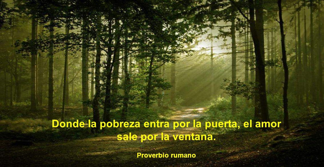 Donde la pobreza entra por la puerta, el amor sale por la ventana. Proverbio rumano