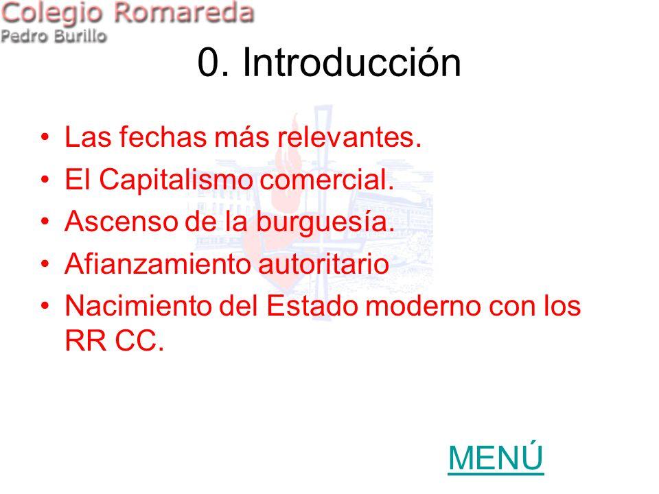 0. Introducción Las fechas más relevantes. El Capitalismo comercial. Ascenso de la burguesía. Afianzamiento autoritario Nacimiento del Estado moderno