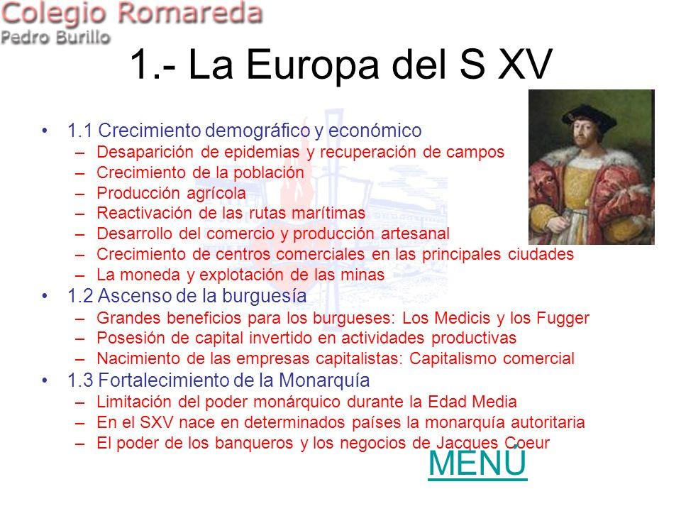 1.- La Europa del S XV 1.1 Crecimiento demográfico y económico –Desaparición de epidemias y recuperación de campos –Crecimiento de la población –Produ