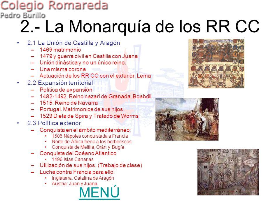 2.1 La Unión de Castilla y Aragón –1469 matrimonio –1479 y guerra civil en Castilla con Juana –Unión dinástica y no un único reino. –Una misma corona