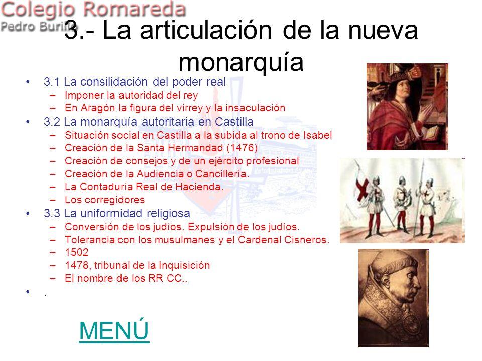 3.1 La consilidación del poder real –Imponer la autoridad del rey –En Aragón la figura del virrey y la insaculación 3.2 La monarquía autoritaria en Ca