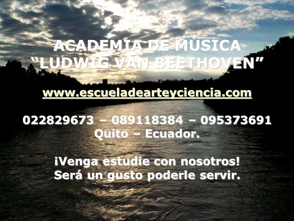 ACADEMIA DE MÚSICA LUDWIG VAN BEETHOVEN www.escueladearteyciencia.com 022829673 – 089118384 – 095373691 Quito – Ecuador.