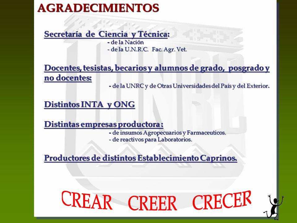 AGRADECIMIENTOS Secretaría de Ciencia y Técnica: - de la Nación - de la Nación - de la U.N.R.C. Fac. Agr. Vet. - de la U.N.R.C. Fac. Agr. Vet. Docente