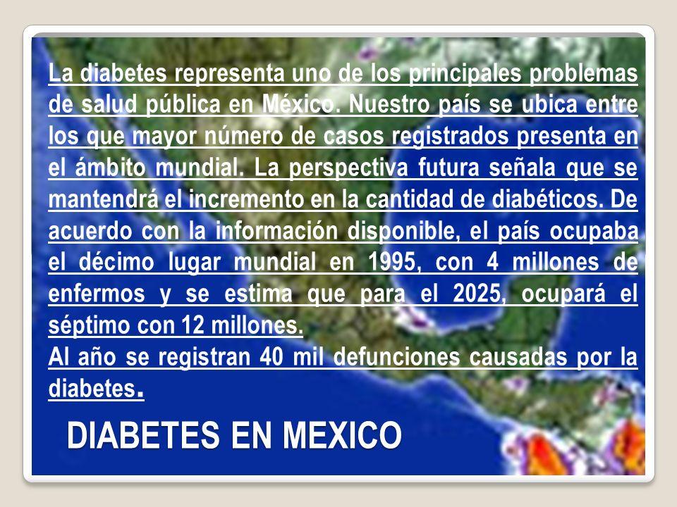 La diabetes representa uno de los principales problemas de salud pública en México.