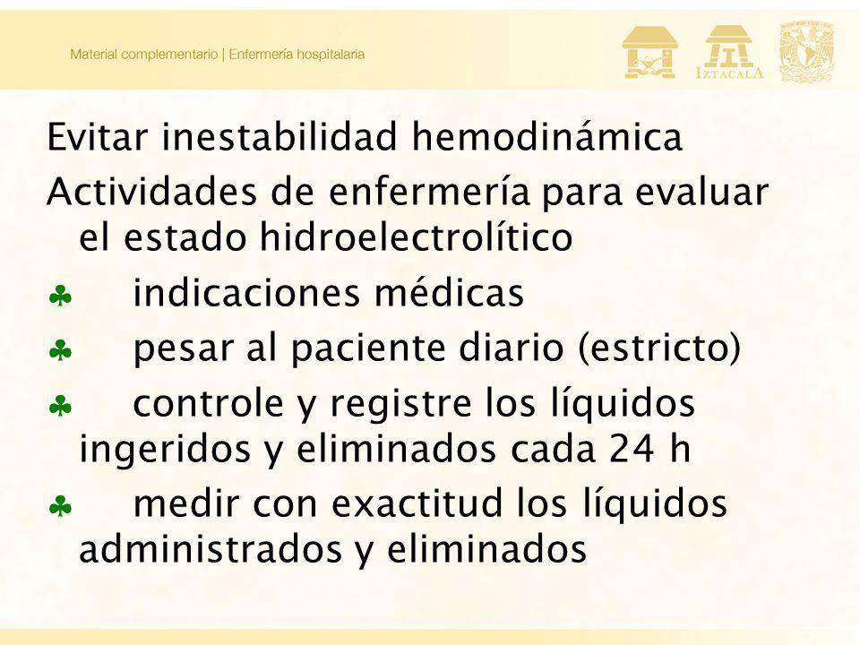 Evitar inestabilidad hemodinámica Actividades de enfermería para evaluar el estado hidroelectrolítico indicaciones médicas pesar al paciente diario (estricto) controle y registre los líquidos ingeridos y eliminados cada 24 h medir con exactitud los líquidos administrados y eliminados