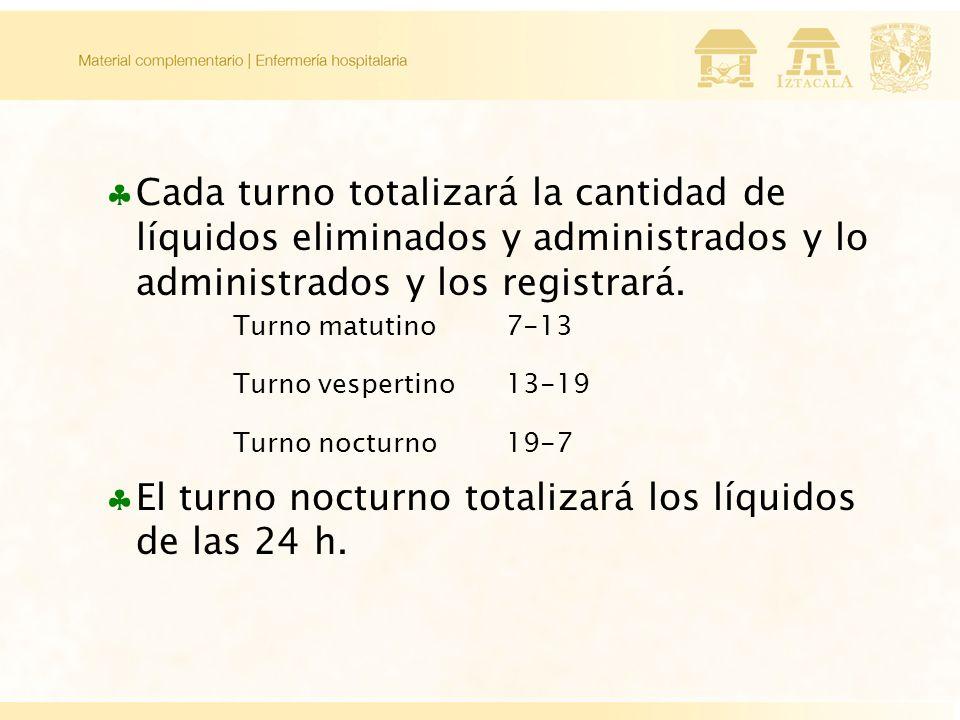 Cada turno totalizará la cantidad de líquidos eliminados y administrados y lo administrados y los registrará.