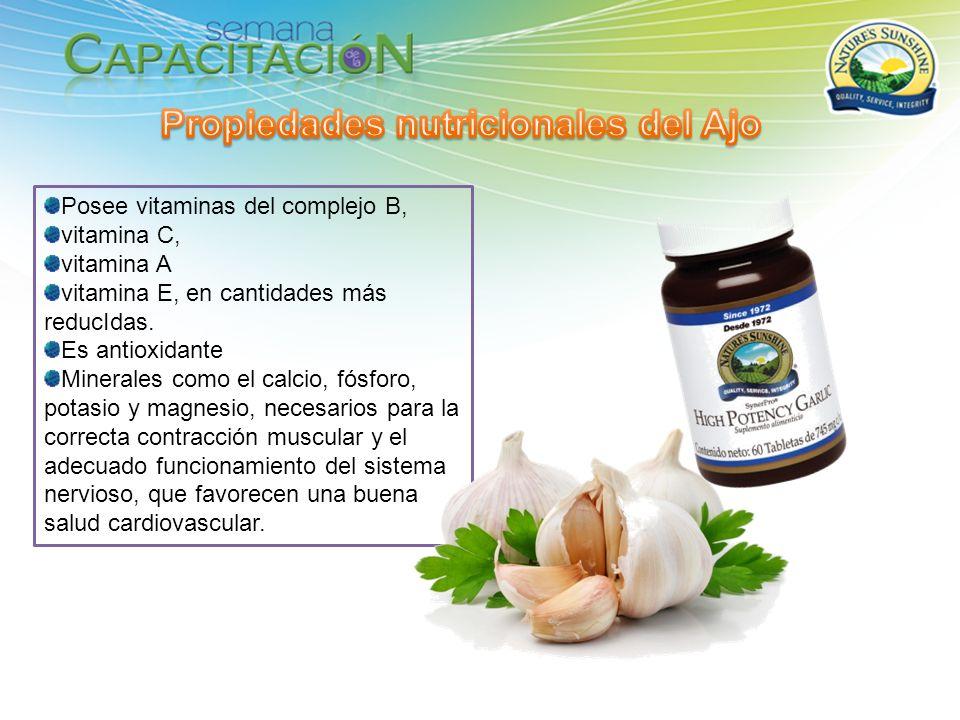 Posee vitaminas del complejo B, vitamina C, vitamina A vitamina E, en cantidades más reducIdas. Es antioxidante Minerales como el calcio, fósforo, pot