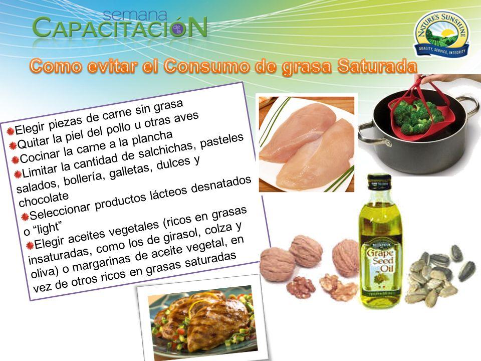 Elegir piezas de carne sin grasa Quitar la piel del pollo u otras aves Cocinar la carne a la plancha Limitar la cantidad de salchichas, pasteles salad
