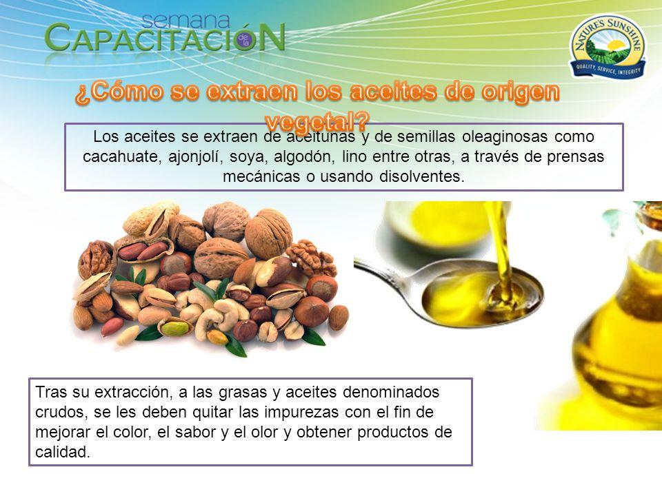 Los aceites se extraen de aceitunas y de semillas oleaginosas como cacahuate, ajonjolí, soya, algodón, lino entre otras, a través de prensas mecánicas