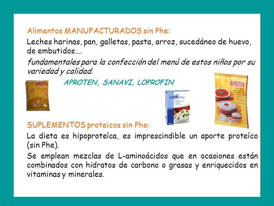 Alimentos MANUFACTURADOS sin Phe: Leches harinas, pan, galletas, pasta, arroz, sucedáneo de huevo, de embutidos….