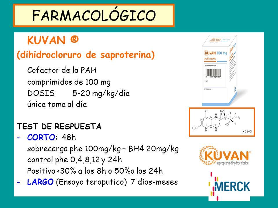 FARMACOLÓGICO KUVAN ® (dihidrocloruro de saproterina) Cofactor de la PAH comprimidos de 100 mg DOSIS 5-20 mg/kg/día única toma al día TEST DE RESPUEST