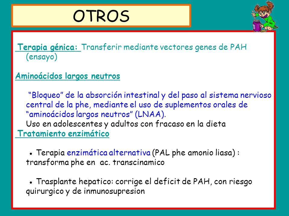 Terapia génica: Transferir mediante vectores genes de PAH (ensayo) Aminoácidos largos neutros Bloqueo de la absorción intestinal y del paso al sistema nervioso central de la phe, mediante el uso de suplementos orales de aminoácidos largos neutros (LNAA).
