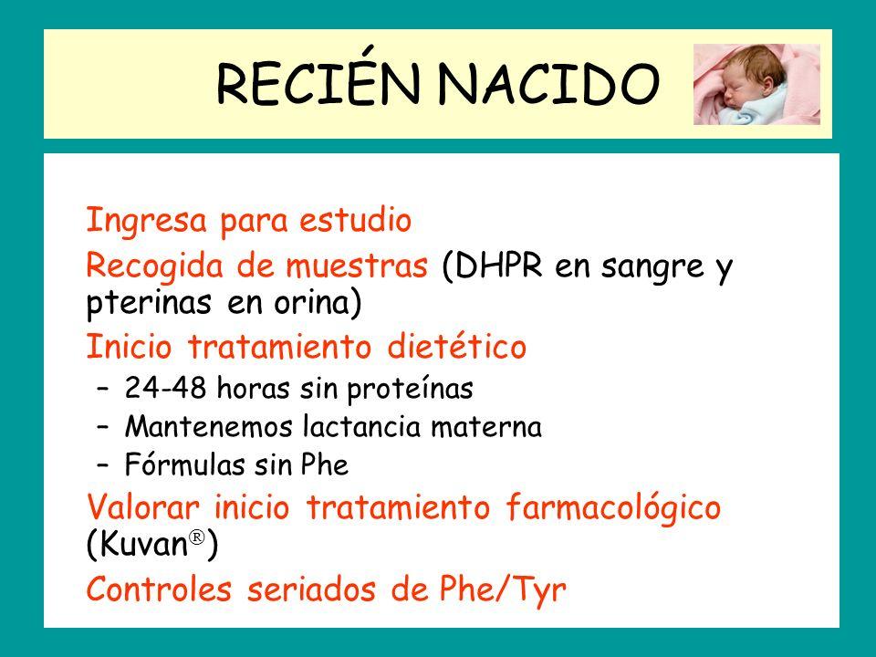 RECIÉN NACIDO Ingresa para estudio Recogida de muestras (DHPR en sangre y pterinas en orina) Inicio tratamiento dietético –24-48 horas sin proteínas –