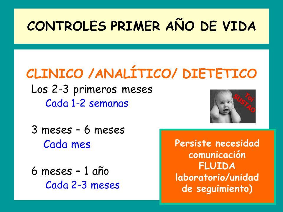 CONTROLES PRIMER AÑO DE VIDA CLINICO /ANALÍTICO/ DIETETICO Los 2-3 primeros meses Cada 1-2 semanas 3 meses – 6 meses Cada mes 6 meses – 1 año Cada 2-3