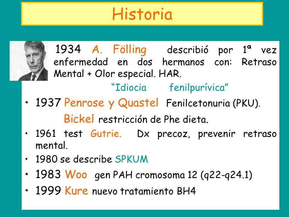 Historia 1934 A. Fölling describió por 1ª vez enfermedad en dos hermanos con: Retraso Mental + Olor especial. HAR. Idiocia fenilpurívica 1937 Penrose