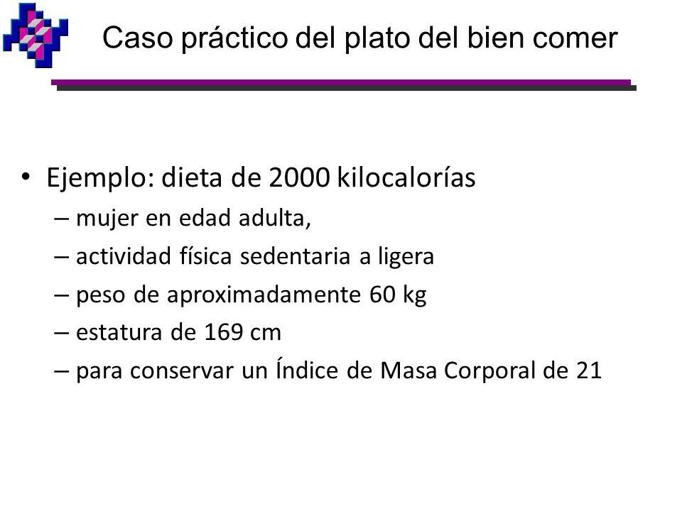 Ejemplo: dieta de 2000 kilocalorías – mujer en edad adulta, – actividad física sedentaria a ligera – peso de aproximadamente 60 kg – estatura de 169 c