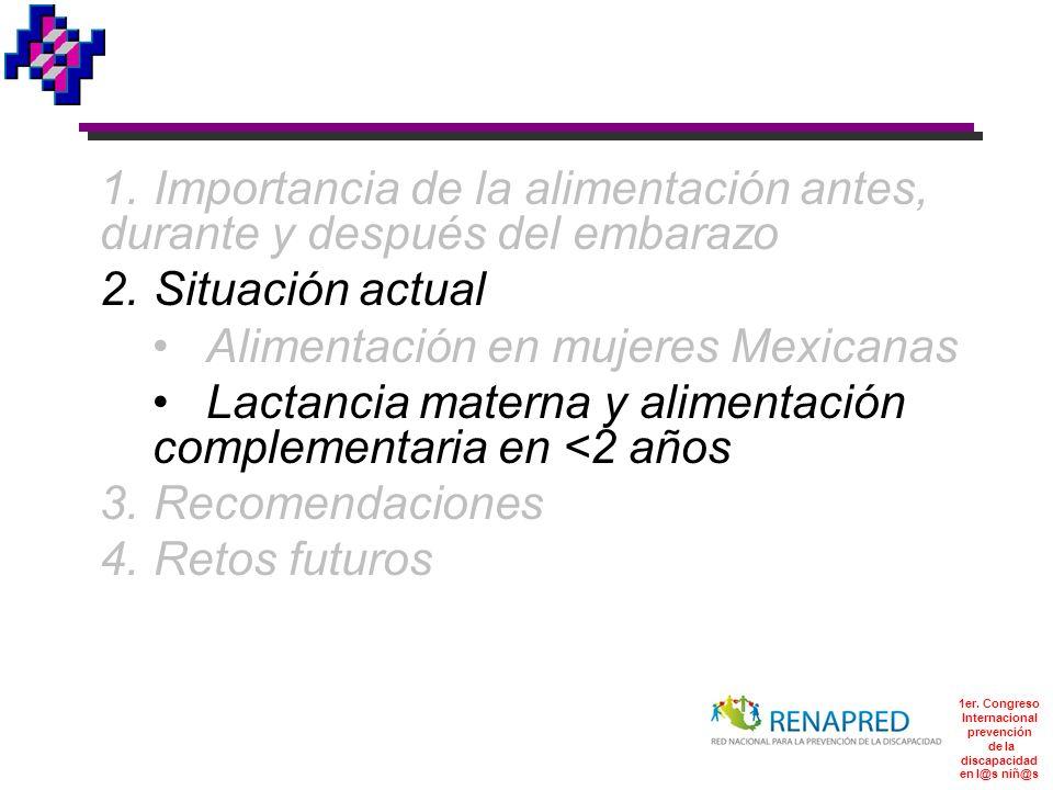 1er. Congreso Internacional prevención de la discapacidad en l@s niñ@s 1.Importancia de la alimentación antes, durante y después del embarazo 2.Situac